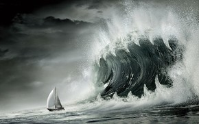 волна, пасть, лодка