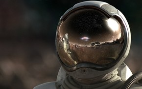 space suit, astronaut, helmet, reflection