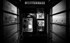 black and white, Phone, booth