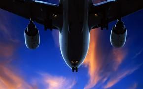 самолет, небо, облака