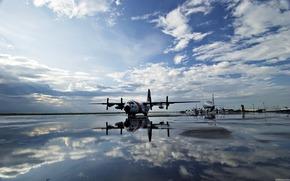 аэродром, винты, вода, отражение
