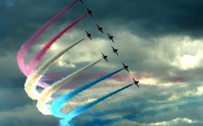 самолеты, облака, цвет, шлейф, истребители