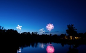 blue, evening, fireworks