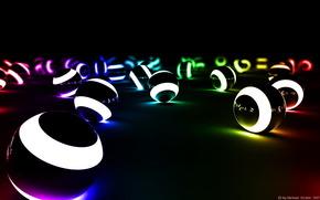 Balls, light, light bulb