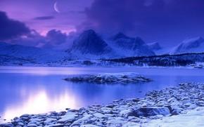 синий, зима, снег, вода, луна, горы