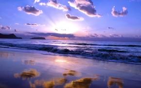 cielo, las nubes, mar
