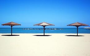 море, песок, пляж, зонтик
