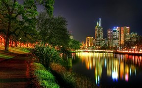 paese, notte, riprese, fotosemka, fiume