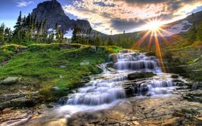 Montana, tramonto, montagna, fiume