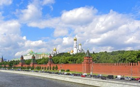 панорама, москва, кремль, дорога, река