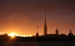 St. Petersburg, Peter, sunset, Peter and Paul Fortress