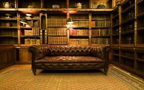 Sofa, Library, Books, room