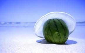 арбуз, берег, песок, шляпа