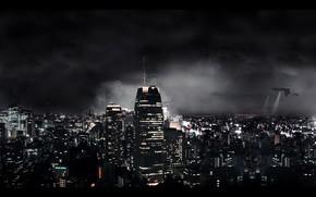 ночь, огни, корабли, небоскребы