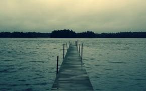 woda, jezioro, las, molo