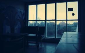 window, room, rain, drops, darkness