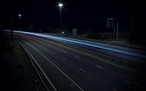 автобан, дорога, огни, ночь