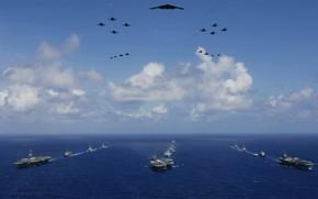 marina, flotta, aereo, mare