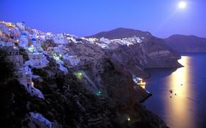 греция, санторини, луна