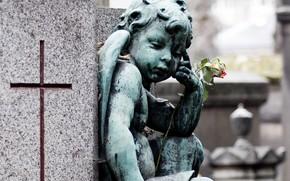 angel, sculpture, cross, flower