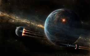 планета, звезды, корабль, ракета