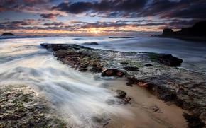 берег, камни, вода, облака, отлив