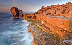 fale, skalny, morze, zama
