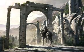 всадник, ворота, руины