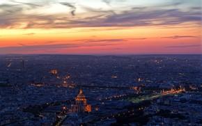 Paris, evening, Lights, clouds