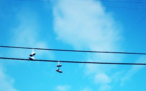 wire, shoes, sky