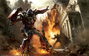 transformers, fight, explosion, robot