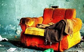 sofa, pokj, ogie, samotno
