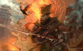 картина, порез, ткань, огонь, птицы, воин, меч