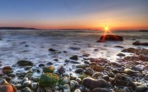 costa, pietre, mare, sole