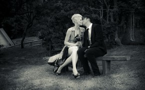 couple, kiss, love, shop