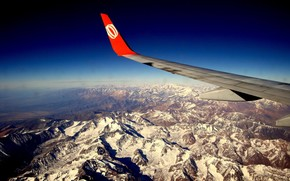 горы, самолет, крыло