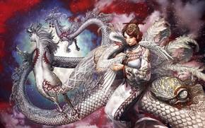 конь, дракон, аист, черепаха, девушка
