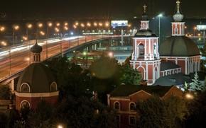 nuit, glise, Moscou, lumires, route