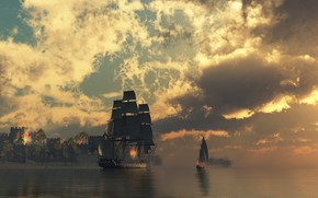 ship, water, clouds, fortress, fire