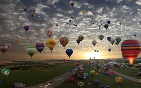 облака, воздушные шары, солнце