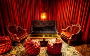 room, red, chair, Sofa, table, lamp