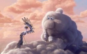 clouds, sky, bird, stork, Figure