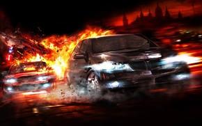 inseguimento, fuoco, Auto