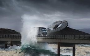 грузовик, волна, эстакада