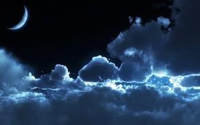 nuvole, chiaro di luna, notte