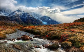 горы, река, облака, небо