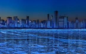 зима, лед, небоскребы, синий, панорама