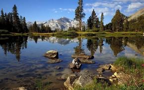 Montanhas, ar fresco, gua limpa, pedras, lago, rvores, nuvens