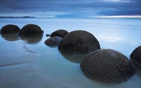 石, ボール, 海岸, 雲