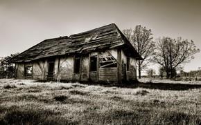 дом, сепия, развалины, старина